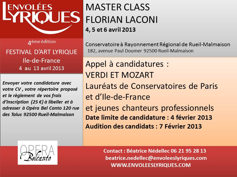 appel a candidature master class 2013